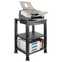 Kantek Mobile Printer Stand, Three-Shelf, 17W x 13.25D x 24.5H (Black)