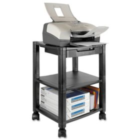 Kantek Mobile Printer Stand, Three-Shelf, 17W x 13.25D x 24.5H (Black)