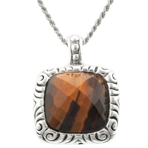 Faceted Tigers Eye Pendant in Sterling Silver