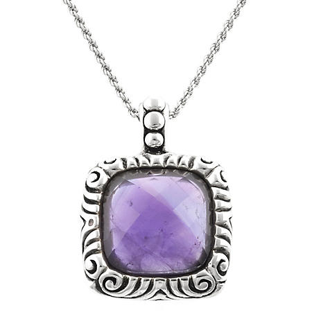 Faceted Amethyst Pendant in Sterling Silver