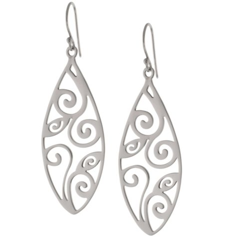 Sterling Silver Marquis Scroll Drop Earrings
