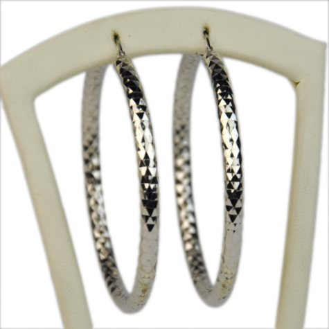 59mm Sterling Silver Diamond-Cut Hoops