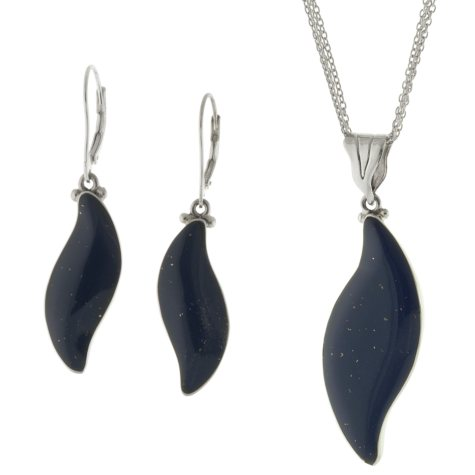 Sterling Silver and Genuine Lapis Earring and Pendant Set