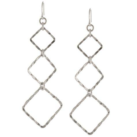 Sterling Silver Hammered Geometric Drop Earrings