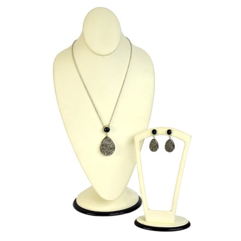 Genuine Druzy and Onyx Earring and Pendant Set in Sterling Silver