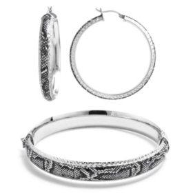 Sterling Silver Snakeskin Pattern Enamel Bangle and Earrings Set