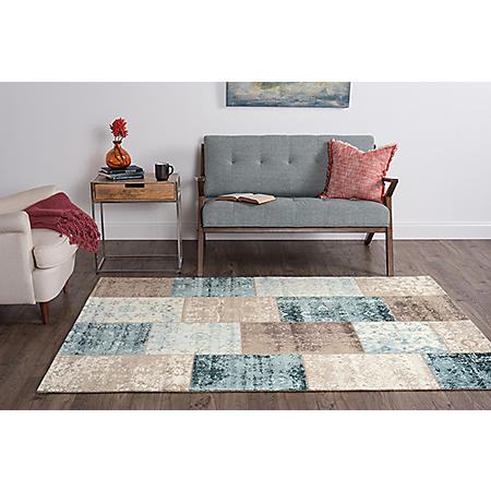 Concept Medallion Area Rug, Blue and Cream (Assorted Sizes)