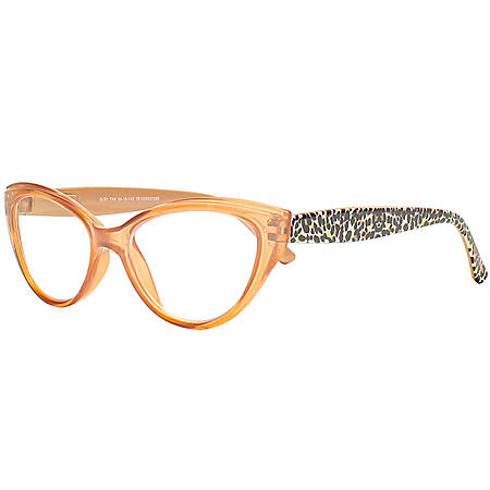 XOX Betsey Johnson Blue Light Blocking Glasses with Cloth and Pouch, Tan