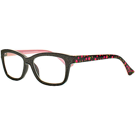 XOX Betsey Johnson Blue Light Blocking Glasses with Cloth and Pouch, Black