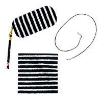 XOX Betsey Johnson Black Stripe Multi Case + Cloth