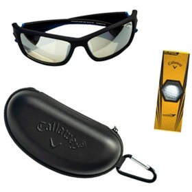 Callaway CA305 Black Plastic Sunglasses with Case and Golf Ball Set