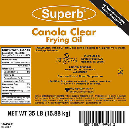 Superb Canola Clear Fry Oil (35 lb.)