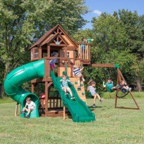 Backyard Discovery Skyfort II with Tube Slide Cedar Swing Set/Playset