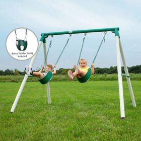 Backyard Discovery Heavy-Duty Mini Brutus Metal Swing Set/Playset