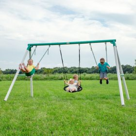 Backyard Discovery Heavy-Duty Little Brutus Metal Swing Set/Playset
