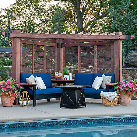 Backyard Discovery Cedar Cabana Pergola Lounger with Decorative Privacy Panels – Bamboo/Blue