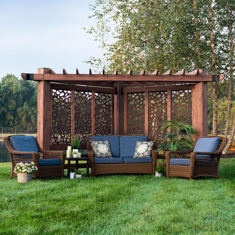 Backyard Discovery Cedar Cabana Pergola with Decorative Privacy Panels