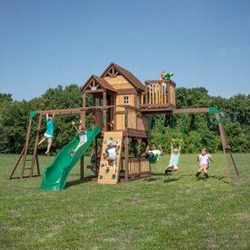 Backyard Discovery Skyfort II with Vac Slide Cedar Swing Set/Playset - Light/Dark Brown