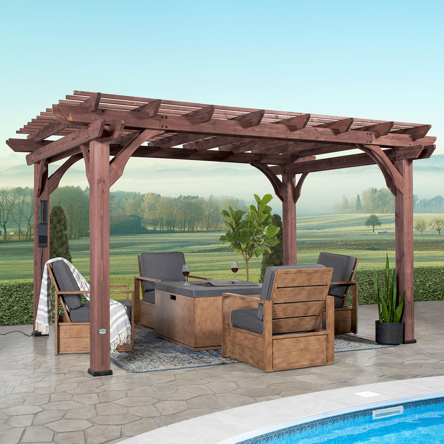 Backyard Discovery 14′ x 10′ Somerville Pergola With Electric