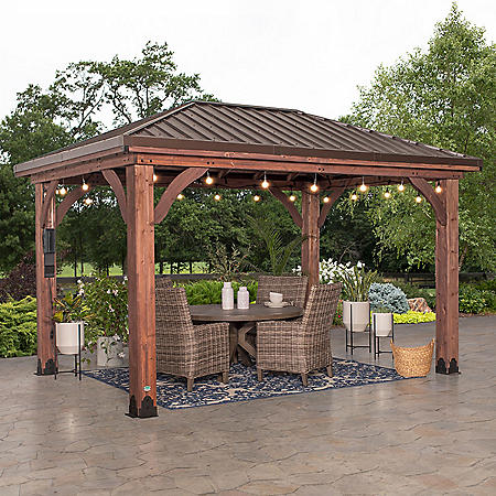Backyard Discovery 14' x 10' Cordova Gazebo with Electric & Hip Roof