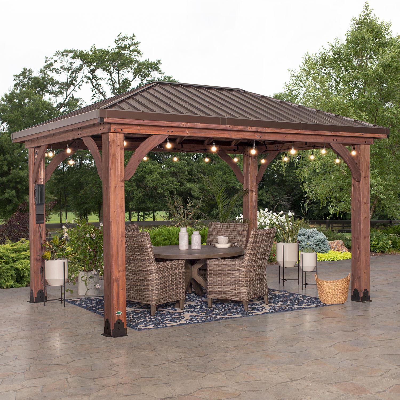 Backyard Discovery 14′ x 10′ Cordova Gazebo with Electric & Hip Roof