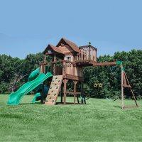 Backyard Discovery Skyfort III Cedar Swing Set with Tube Slide
