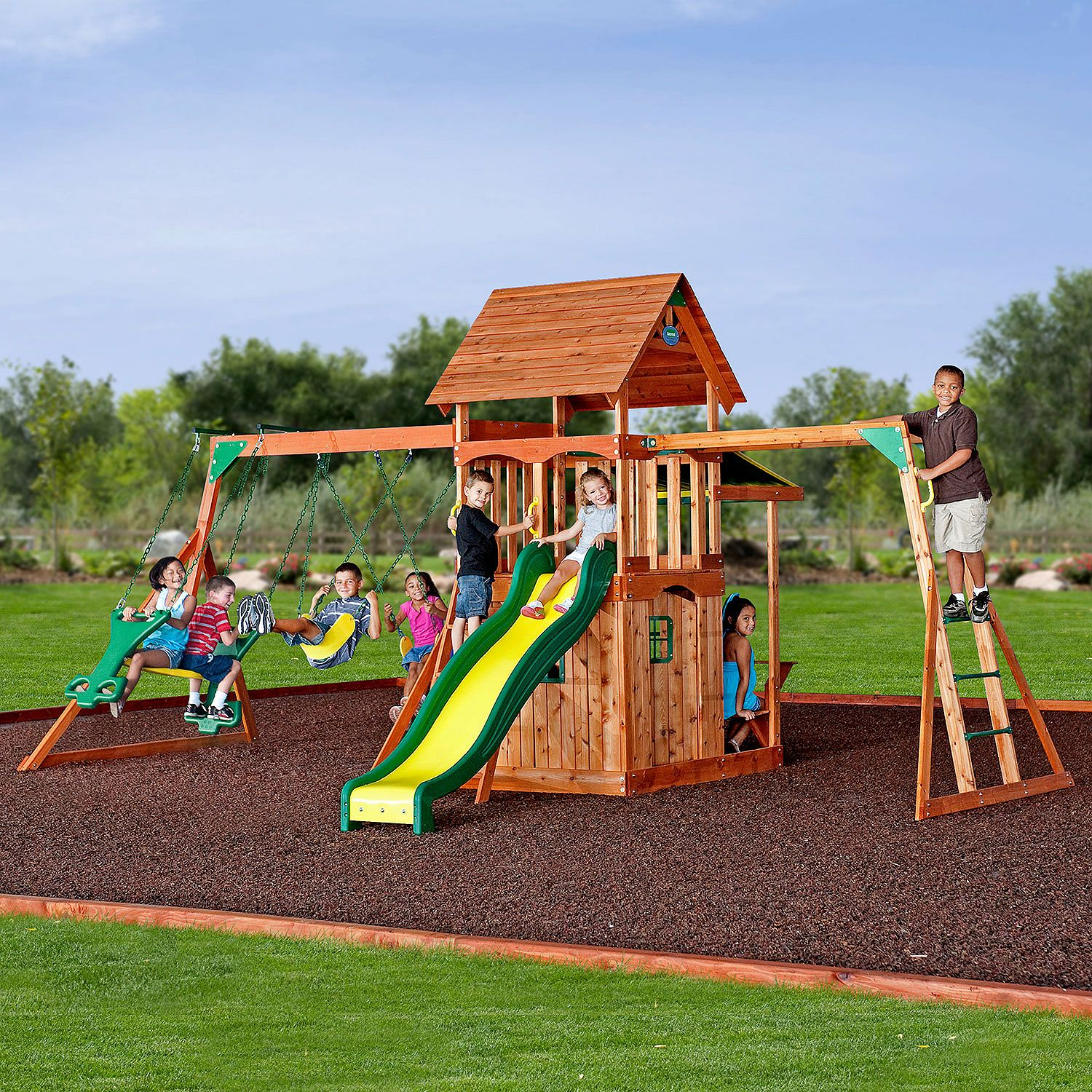 Cedar Wood Swing Set Kids Playground Outdoor Backyard Fort