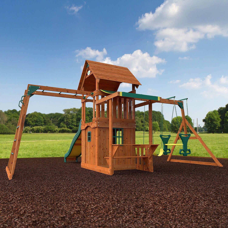Backyard Fort: Cedar Wood Swing Set Kids Playground Outdoor Backyard Fort