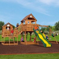 Deals on Backyard Discovery Malibu Cedar Swing Set