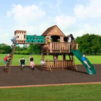 Deals on Backyard Discovery Woodridge Elite Cedar Swing Set 1801080