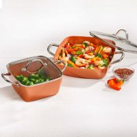 Copper Chef 4-Piece Deep Casserole Pan Set 8-in, 12-inch Deals