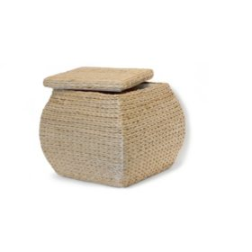 Square Storage Ottoman W/ Lid - Natural