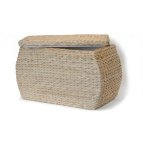 Rectangular Storage Ottoman W/Lid - Natural