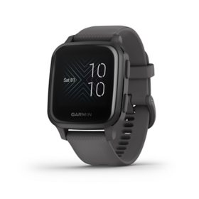 Garmin Venu Sq - Slate Aluminum Bezel with Shadow Gray Case and Silicone Band