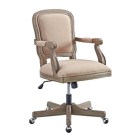 Bethany Office Chair, Natural Upholstery and Rustic Brown Base