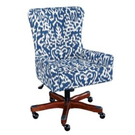 Braden Office Chair, Bright Blue and White Upholstery with Dark Walnut Base