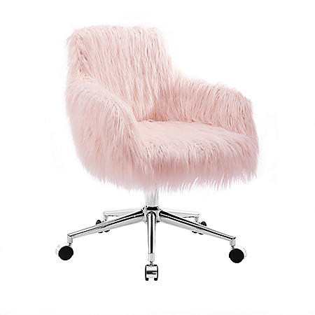Cameron Office Chair, Pink Upholstery and Chrome Base