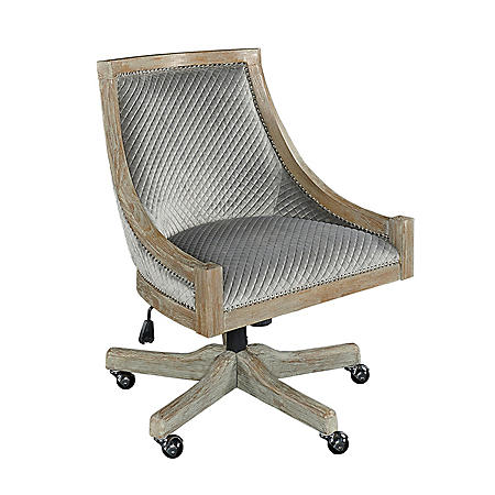 Carey Quilted Office Chair, Gray with Gray Wash Base