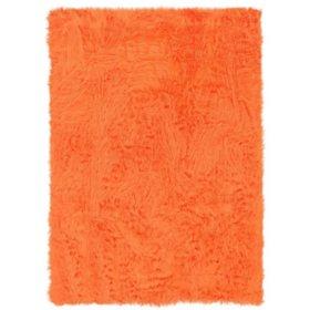Faux Sheepskin Rug, Orange (Assorted Sizes)