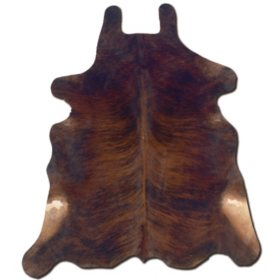 Natural Cowhide Rug, Dark Brindle