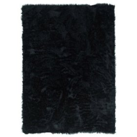 Faux Sheepskin Rug, Black  (Assorted Sizes)