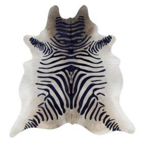 Natural Cowhide Rug, Black Zebra Print