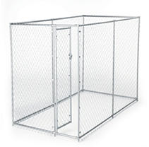 Lucky Dog Galvanized Chain Link w/ PC Frame, Kit in a Box - 10'L x 5'W x 4'H or 6.5'L x 8'W x 4'H