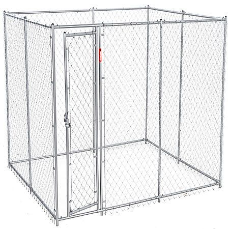 Lucky Dog Galvanized Chain Link w/ PC Frame, Kit in a Box - 10'L x 5'W x 6'H or 6.5'L x 8'W x 6'H