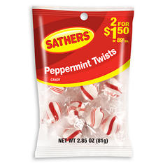 Sathers Peppermint Twists (2.85 oz. bag, 12 ct.)