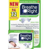 Breathe Right Nasal Strips to Stop Snoring, Drug-Free, Extra Clear (72 ct.)