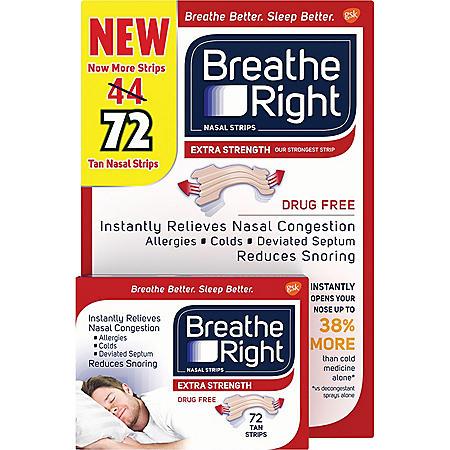 Breathe Right Nasal Strips, Tan (72 ct.)