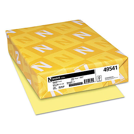 Neenah Paper - Exact Index Card Stock, 110 lbs., 8-1/2 x 11, Canary -  250 Sheets/Pack