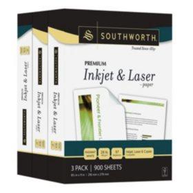 "Southworth® Premium Inkjet & Laser Paper, 8.5"" x 11"", 28 lb., Radiant White, 900 Sheets"