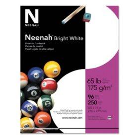 "Neenah Bright White Premium Cardstock, 8.5"" x 11"", 65 lb/176 gsm, White, 96 Brightness, 250 Sheets"